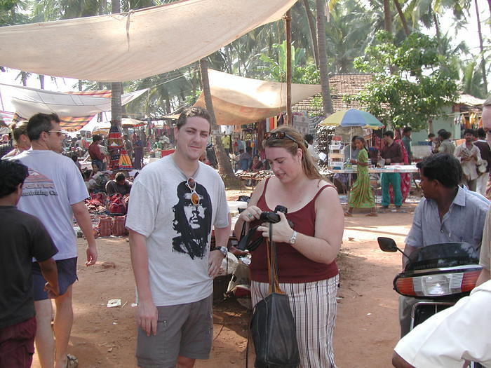 My friends Sax (from Belgium) and Andrea (from Canada), at the Wednesday market in Anjuna. Taken October 2002.