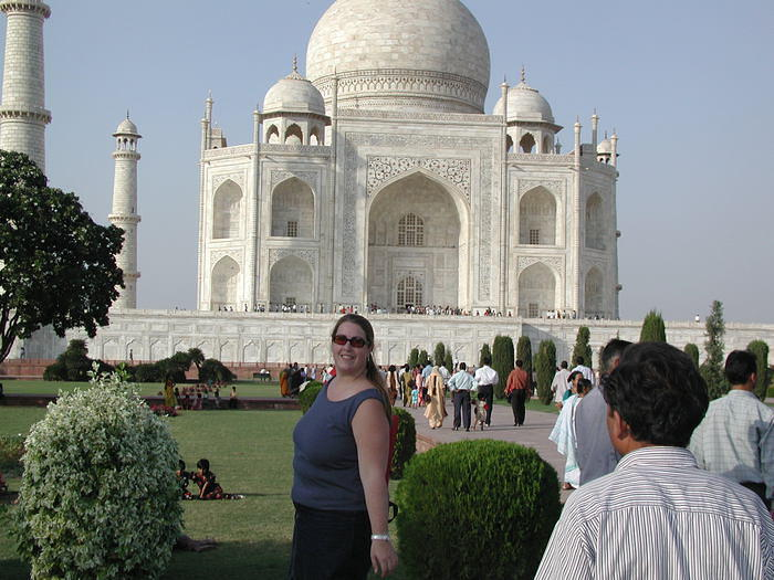 My friend (not wife or girlfriend) Andrea in love with the Taj Mahal.