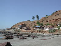View of the end of the beach in Arambol.