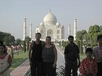 My friend Andrea and I at the Taj Mahal. Unfortunately the brightness of the Taj in the distance made this photo too dark... I t