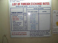 Current exchange rates for the world's major currencies. Note the warning about Canadian traveler's cheques.